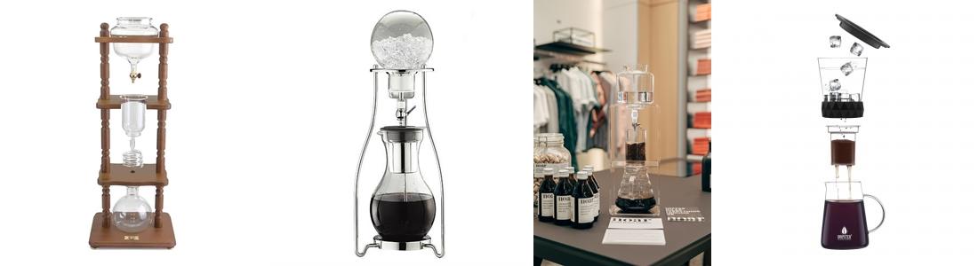 Verschiedene Cold Drip Coffee Dripper Modelle im Vergleich