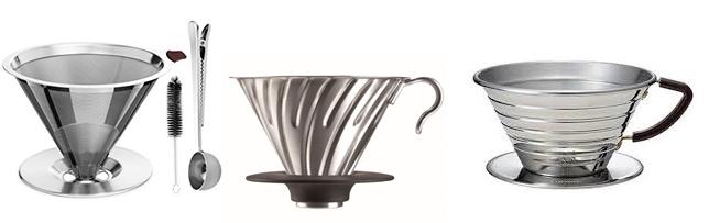 Verschiedene Edelstahl Kaffeefilter