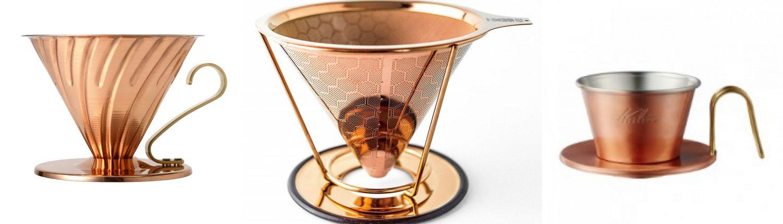 Modelle verschiedener Kupfer Kaffeefilter