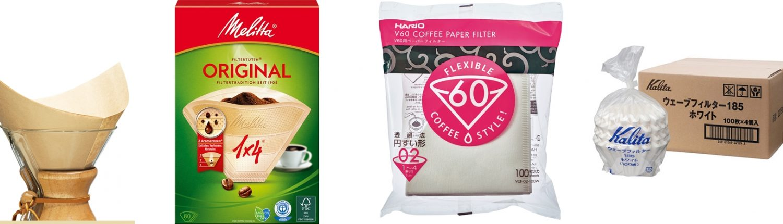 Verschiedene Papier-Kaffeefilter und Filtertüten