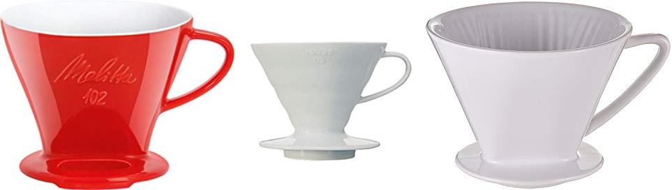 Verschiedene Keramik- und Porzellan-Kaffeefilter